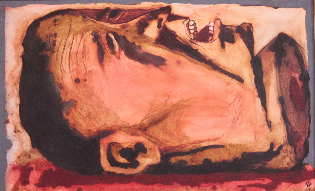 """""""Cabeza"""", de Antonio Ramírez, 2009. Mixta sobre plástico, 75 x 121 cm"""