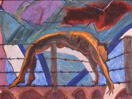 """""""En la cerca"""", de Antonio Ramírez, 2009. Pintura Mixta sobre plástico, 75 x 121 cm."""
