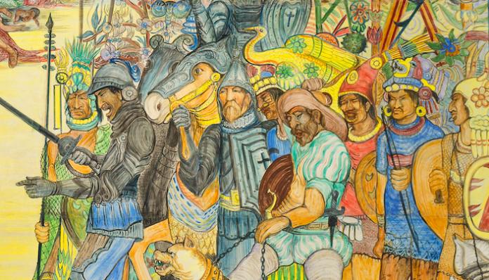 Fragmento del Mural La Conquista de la Nueva Galicia, de Guadalupe Zuno
