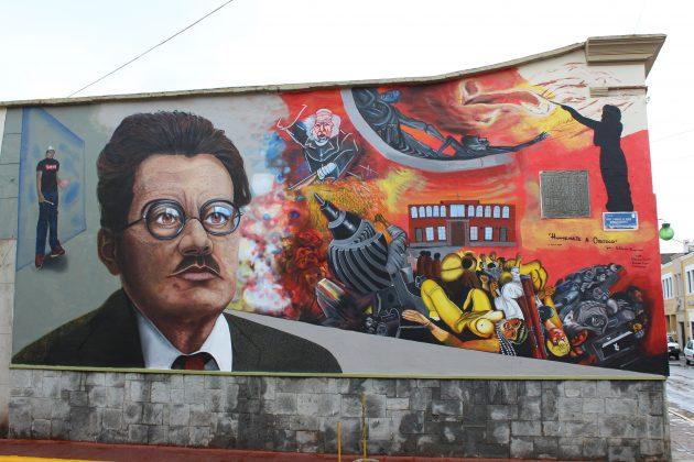 Mural urbano sobre José Clemente Orozco, en Ciudad Guzmán. Fotografía: Iván Serrano Jauregui