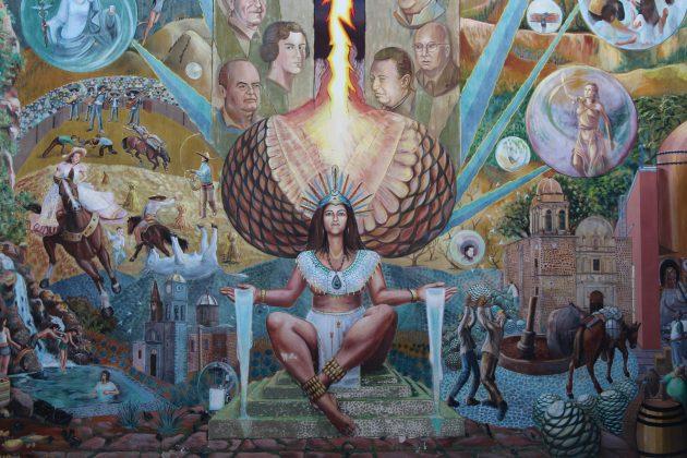 Pintura sobre Mayahuel y el tequila, al interior de la Presidencia Municipal de Tequila. Fotografía: Iván Serrano Jauregui