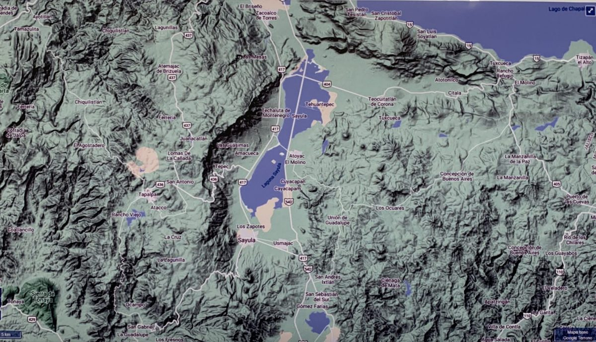 Mapa de la Laguna de Sayula, donde se han encontrado vestigios prehispanicos.